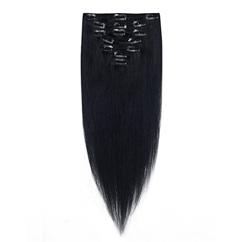 100% Real Remy Hair Clip in Human Hair Extension Standard Light Weft 16-22inch NaturalStraight Hair 7Pcs ()