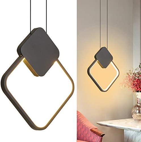 Ditoon Modern Black Pendant Light Fixture Geometric Square LED Hanging Light Fixture