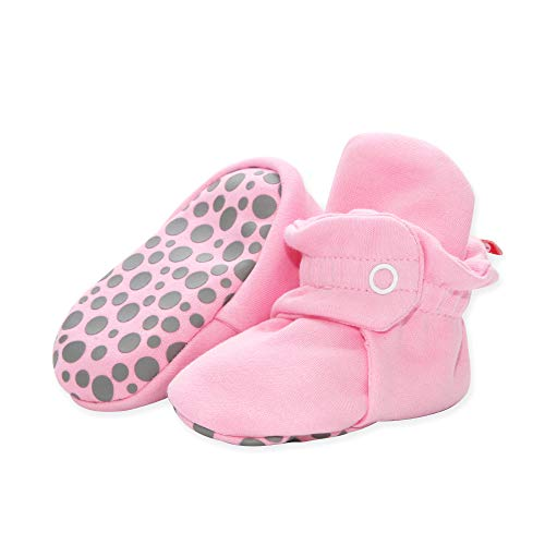 (Zutano Cotton Baby Booties with Grippers, Hot Pink, 24M)