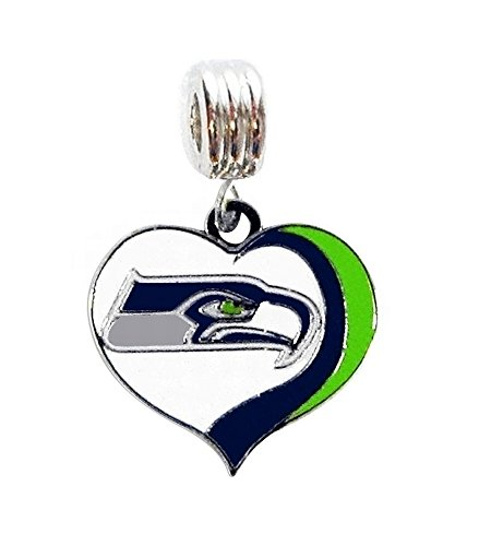 Heavens Jewelry SEATTLE SEAHAWKS FOOTBALL TEAM HEART CHARM SLIDE PENDANT FOR YOUR NECKLACE EUROPEAN CHARM BRACELET (Fits Most Name Brands) DIY PROJECTS ETC