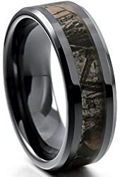 King Will 8mm Mens Black Tungsten Carbide Ring Camo Camouflage Comfort Fit Wedding Band