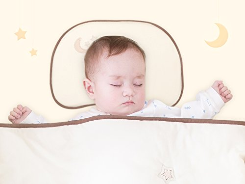 Baby Memory Foam Pillow for Newborn Prevent Flat Head Infant Sleep Positioner Pillow Set with Organic Pillowcase by KIDDA