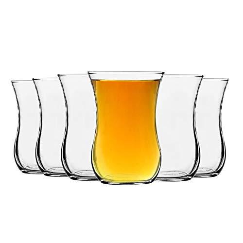 LAV Klasik de vidrio tazas de te para el cafe, bebidas calientes - estilo antiguo - 115 ml - Claro - Pack de 6