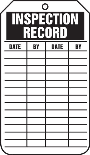 (Accuform Signs TRS307CTP Inspection Record Tag, Legend