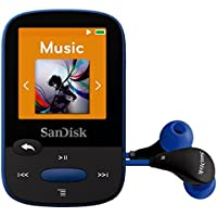 SanDisk Clip Sport 8GB MP3 Player, Blue With LCD Screen and MicroSDHC Card Slot (Certified Refurbished)