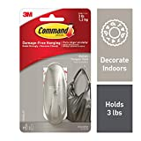 Command 17081BN-ES 051131964358 Medium Designer, Brushed Nickel, 1 Hook, 2 Strips
