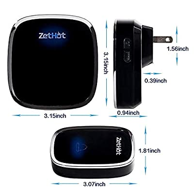 Wireless Doorbell, ZetHot Twin Mains Plug-in Wireless Door Chime Kit with with 1 Button/Transmitter and 2 Ringer/Receiver and 1000 Feet Range with Over 36 Chimes