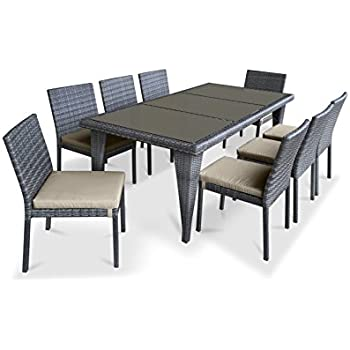 9 piece wicker outdoor patio dining set gray wicker beige