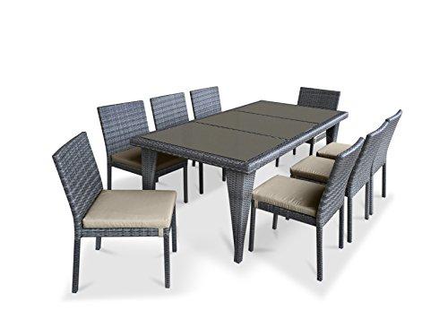 UrbanFurnishing.net - 9 Piece Wicker Outdoor Patio Dining Set - Gray Wicker / Beige