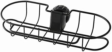 黒の錬鉄製蛇口ラック、多機能中空ドレン収納ラック、シンプルなキッチンの浴室用品、清潔で乾燥