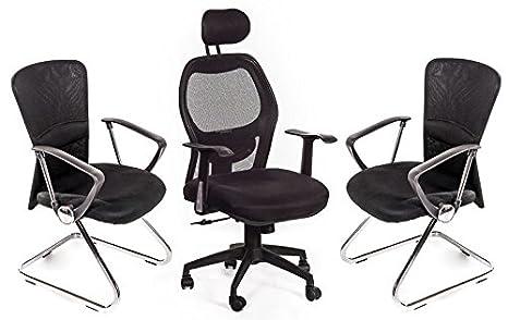 Sedie Ufficio Fisse : San marco set poltrona ufficio 2 sedie sala attesa nere: amazon.it