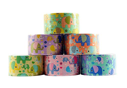 Washi Tape Wholesale (6 Roll Variety Pack of Decorative Duct Style Tape, Elephant Tape, Each Roll 1.88 Inch x 5 Yards, Ideal for Scrapbooking - Decorating - Signage (6-Pack,)