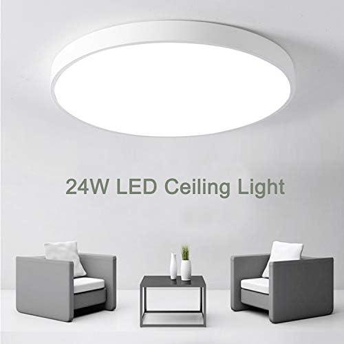 Kimjo Deckenlampe LED 24W Deckenleuchte, IP44 Wasserfest Badlampe, Kaltweiß 6500K 2160LM 23CM, Decke Badleuchte ideal für Badezimmer Wohnzimmer Schlafzimmer Küche Büro Balkon Flur