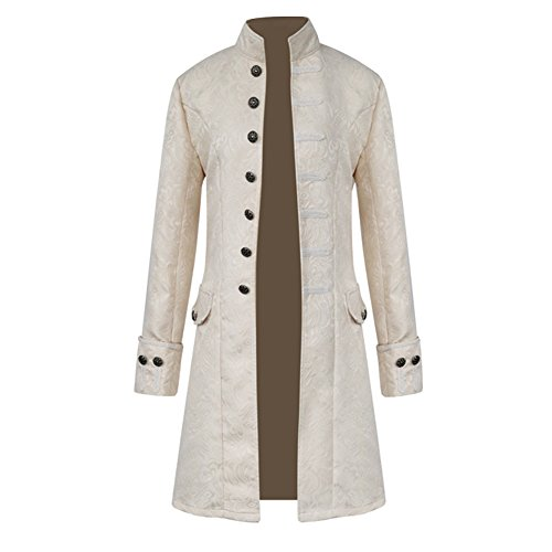H&ZY Men Steampunk Vintage Jacket Halloween Costume Retro Gothic Victorian Frock Coat Uniform White