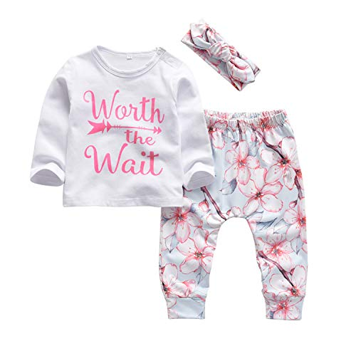 3Pcs Baby Girl Outfits Set Worth The Wait Long Sleeve T-Shirt Tops Flowers Pants with Headband (18-24 - T-shirt Headband Long Sleeve