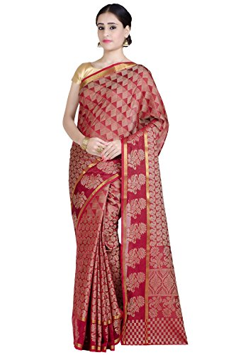 Chandrakala Women's Maroon Cotton Blend Banarasi Saree,Free Size(1283MAR)