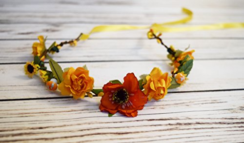 Hand Crafted Sunflower Wildflower and Mushroom Flower Crown