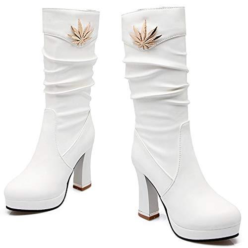 Stivaletti 2 Tacco On RAZAMAZA Bianco Moda Donna Pull Alto IOqO78wx