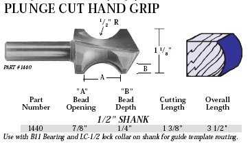 Whiteside Router Bits 1440 Plunge Cut Hand Grip Bit with 7/8-Inch Bead, 1/4-Inch Depth and 1-3/8-Inch Cutting Length