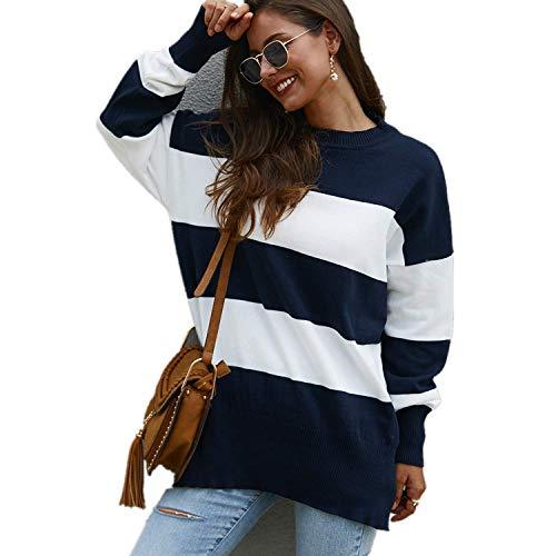 [해외]Women Striple Sweater Casual Loose Pullover Tops Long Sleeves Crewneck / Women Striple Sweater Casual Loose Pullover Tops Long Sleeves Crewneck Blue