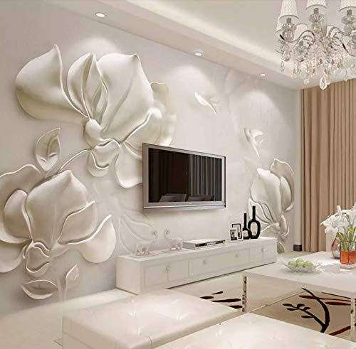 Murwall Floral Wallpaper Magnolia Flower Wall Mural 3D Embossed Wall Art Classical Home Decor Cafe Design Living Room Bedroom
