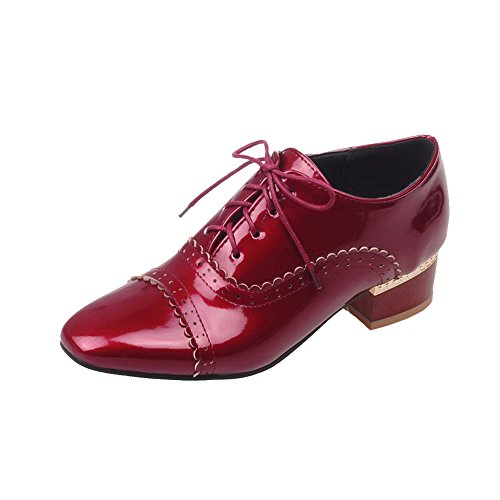 Toe Low Lace Women's Shoes Square up WeiPoot Solid Closed Red Heels Pumps w41Ot