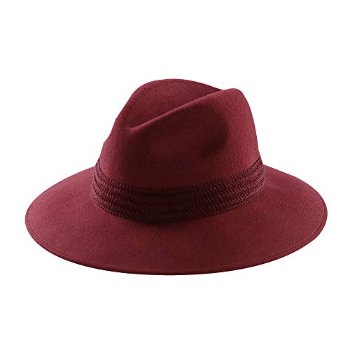 Womens Fedora Hat 100% Wool Felt Hats Winter Trilby Cap Wide Brim with Cotton Belt Decor (Red-Red Cotton Band)