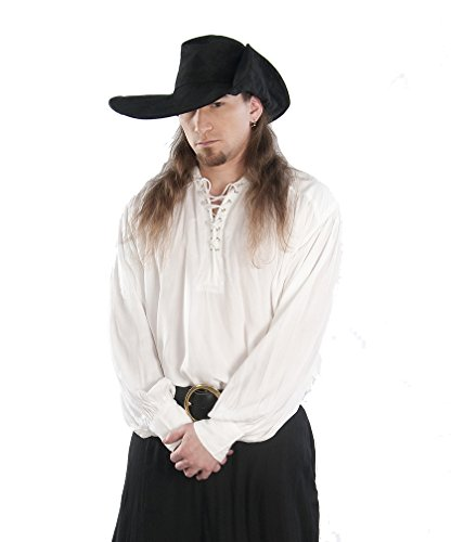 [Dress Like A Pirate Steampunk Pirate Renaissance Reenactment Button Cuff Shirt-White-L/XL] (Punk Halloween Costume Men)