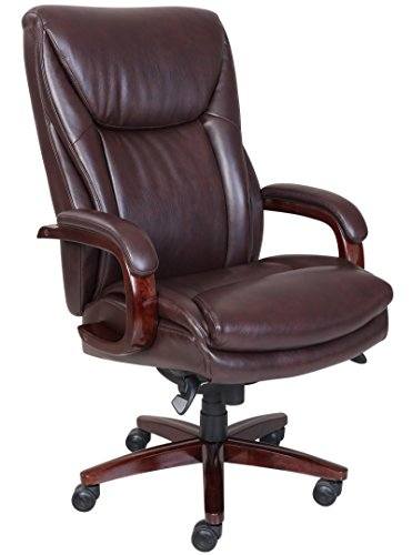 nded Leather Office Chair, Coffee Brown (La Z-boy Arm Chair)