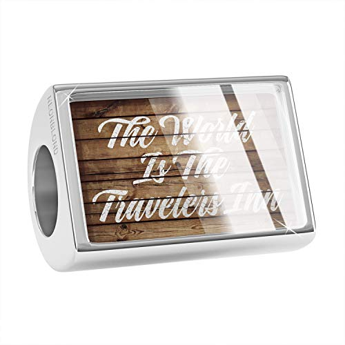 NEONBLOND Charm Painted Wood The World is The Travelers Inn Bead