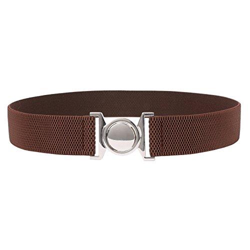 [Plus Size Silver Interlocking Buckle Elastic Belt Coffee Size M CL486-3] (Interlocking Buckle)