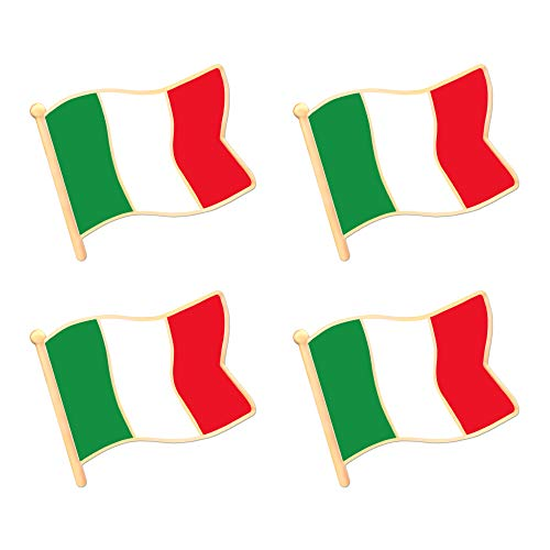 ALEY Italy Italian Flag Lapel Pin Decorations (4 Pack)