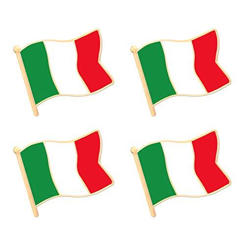ALEY Italy Italian Flag Lapel Pin Decorations (4 Pack) ()