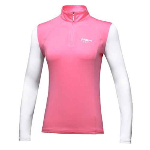 Goodgoods ポロシャツ レディース UVカット ゴルフウェア 女性用 長袖 Tシャツ 日焼け止め 021-xsty-yf085(L ピンク)