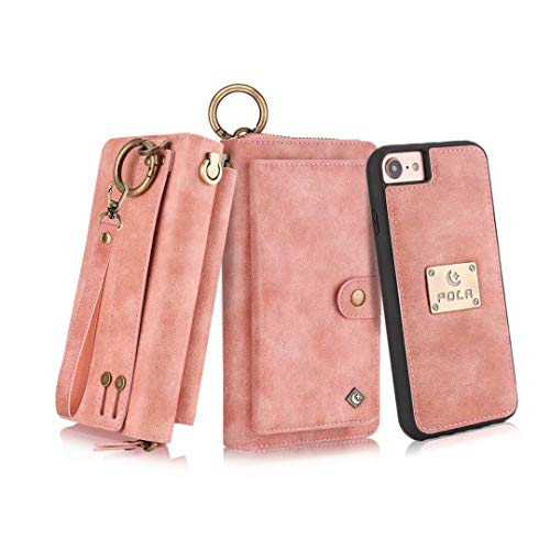 Petocase Compatible iPhone 8 Case/iPhone 7 Wallet Case, Multi-Function Zipper Purse Detachable Magnetic Wristlet 13 Card Slots & 4 Cash Protective Cover for Apple iPhone 8/7/6s/6 Pink