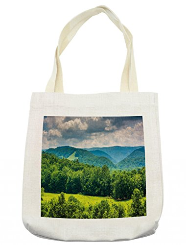 Ambesonne Landscape Tote Bag, View of Mountains in Potomac Highlands of West Virginia Rural Scenery Picture, Cloth Linen Reusable Bag for Shopping Books Beach and More, 16.5
