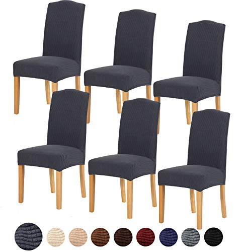 TIANSHU Stretch Chair Cover for Home Decor Dining Chair Slipcover (6 Pack, Grey) (Home Usa Decor)