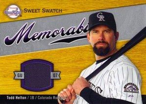 (2007 Sweet Spot Sweet Swatch Memorabilia #HE Todd Helton Jersey)