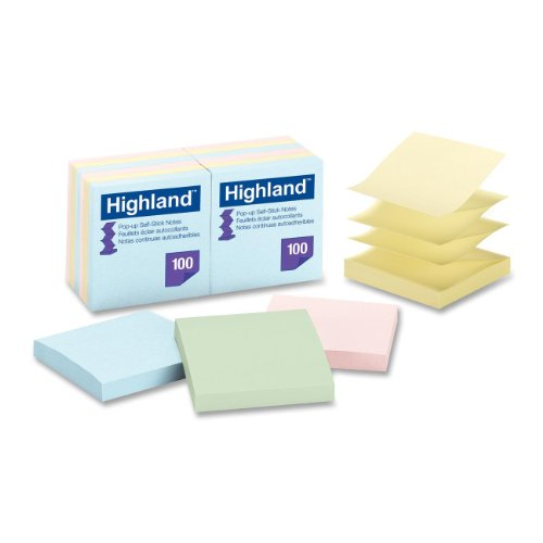 (Highland 6549-PUA Pop-up Notes, 3 x 3 Inches, Assorted Pastel Colors, 12 Pack)