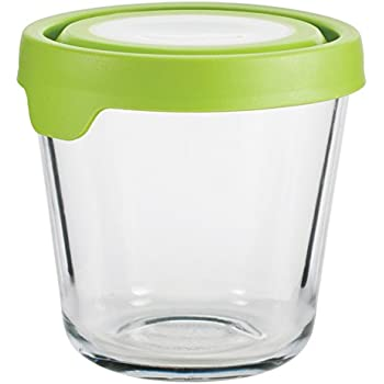 Anchor Hocking TrueSeal Glass Food Storage Container with Airtight Lid, Green, 3 1/2 Cup