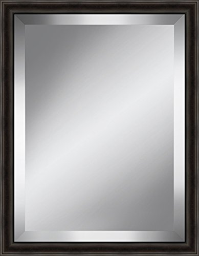 Watermark Collection Distressed Dark Brown Beveled Plate Mirror Framed Glass by Watermark Collection