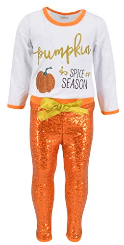 Unique Baby Girls 2 Piece Pumpkin Spice Season Fall Halloween and Thanksgiving Outfit (2t)]()