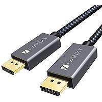IVANKY Câble DisplayPort vers Display Port 1.4, 2M [4K@60Hz] - Garantie à Vie - Câble DP 1.4 Mâle Mâle Supporte 4K@60Hz, 2K@144Hz pour PC ASUS/Dell/Acer, Carte Graphique GTX, Ecran et Plus - Gris