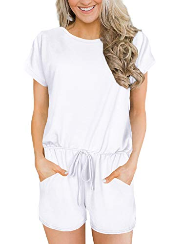 Alaroo Women's Casual Jumpsuit Short Sleeve Front Button Loose Rompers with Pockets White - Suit Front Button