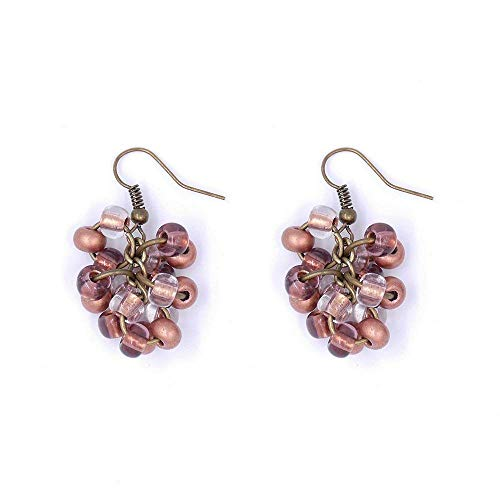 Mocha Creme Cluster Earrings Berry Beige Copper Light Brown Antique Bronze