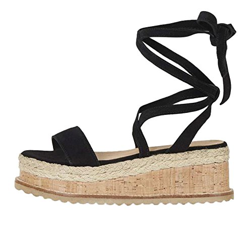 Longra Women's Summer Sandals,Ladies Roman Shoes Platform Woven Thick-Bottom Sandals Boho Casual Wedges Shoes Black