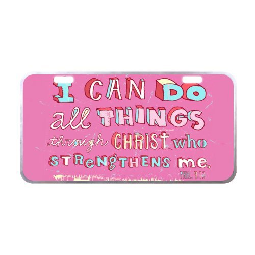 Bible Verse Lisence Plate Tag, I Can Do All Things Through Christ Philippians 4:13 Metal License Plate Frame for Car, Car Tags Cover - 11.8