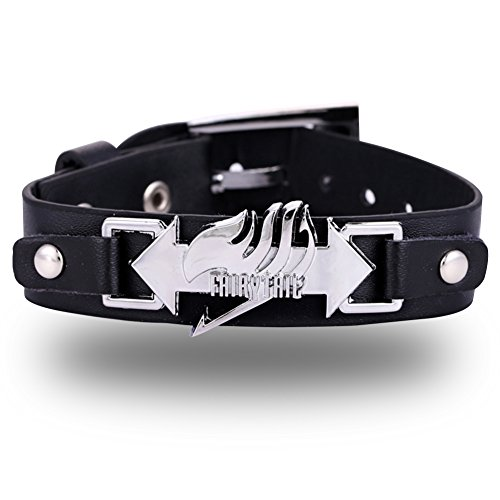 Laxus Costume Cosplay (CG Costume Fairy Tail Wrist Bracelet Black Leather Alloy Fancy Cosplay)