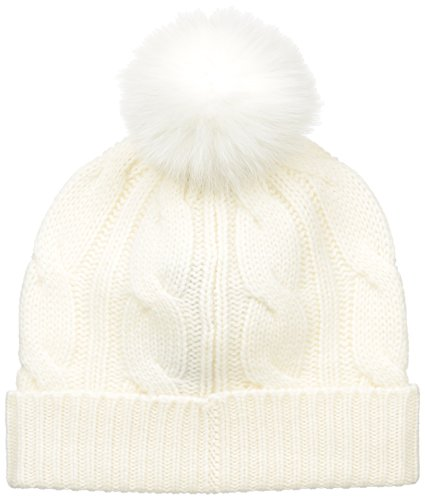Sofia Cashmere Women's 100% Cashmere Cable Hat With Fox Fur Pom, Ivory, One by Sofia Cashmere
