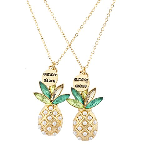 Lux Accessories Gold Tone Summer Sisters Pearl Pineapple BFF Necklace Set (Accessories Necklace Womens)